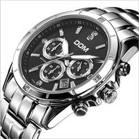 DOM casual quartz chronograph calendar watch 200 meters men luxury full stainless watch