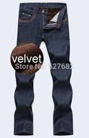 2014 Winter New Men Jeans Solid Warm Thicken Pants Blue Colors True Jeans Men Plus Size28-38 Men's Warm Jeans Pants Hot Ripped