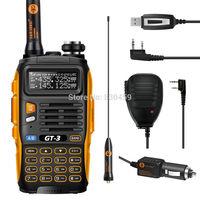 radio ht baofeng GT-3 Mark II, radio vhf uhf dual band 136-174/400-520MHz+Pofung microphone speaker+radio Cable