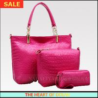 Casual Handbag High Quality Genuine Leather women Handbag Alligator Embossed Messenger Bag 3 in 1 Shoulder Bag B014