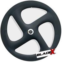 BladeX CARBON Tri Spoke Wheel 4S - 4 SPOKE Clincher; For Road Or Fixed Gear; Triathlon / Time Trial Bike Wheel