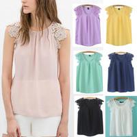 ST1999 New Fashion Ladies' Elegant lace spliced sleeve blouses O neck sleeveless Shirt casual slim brand designer tops