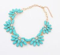 2014 New Fashion Geometric Shourouk Crystal Bright Flower Neon Rhinestone Bib Statement Necklace Women Jewelry Gift
