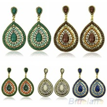 Luxury Bohemian Drop Women Earring Resin Beaded Lady Heart Vintage Earrings 03HX