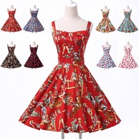 New Arrival Women Vintage Cotton 50s Swing Flower dots Print Evening Prom Gown Casual Party Dress 5 Size XS~XL CL6092