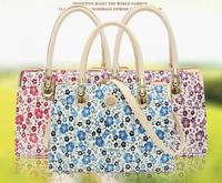 2014 New fashion canvas bag portable diagonal package female flowers bag tide bag