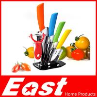 """Life83 High Qaulity 3"""" 4"""" 5"""" 6"""" inch Paring Fruit Utility Chef Kitchen Ceramic Knife Sets + Peeler + Acrylic Holder White blade"""
