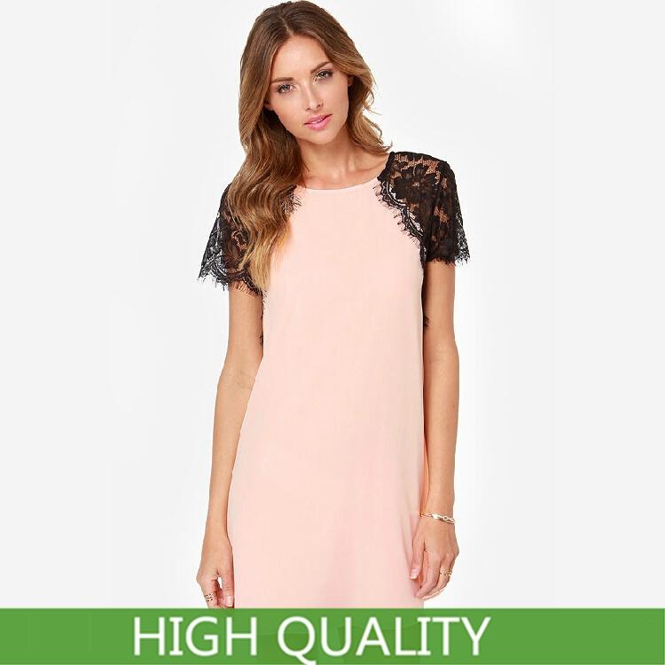 Plus Size XXXL New 2015 Summer Casual Dress Women Clothing Short Sleeve Chiffon Dresses Novelty Lace Sleeve Shift Dress Lined(China (Mainland))