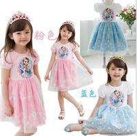 2014 FROZEN elsa & anna  gauze dresses  girls princess  children hort sleeve one-piece popular kids summer clothing garment