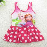 2014 girls Frozen princess  elsa & anna popular swimwear  one-piece swimming suit  kids cartoon swimsuits children clothing