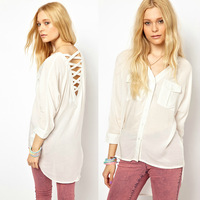 2014 Fashion Women Lady's back hollow out cotton Quarter Sleeve o-neck t-shirt Summer Casual Style Solid Color sexy Blouse