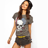 2014 Fashion Women Lady's  SKULL USA Print Blouse Short Sleeve tame my wild heart Print Summer T-Shirt casual style