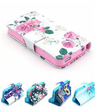 2014 новинка красивый цветок цветочный кожаный бумажник чехол для Apple , iphone 4 4S iphone4s 4 г I4S BA009