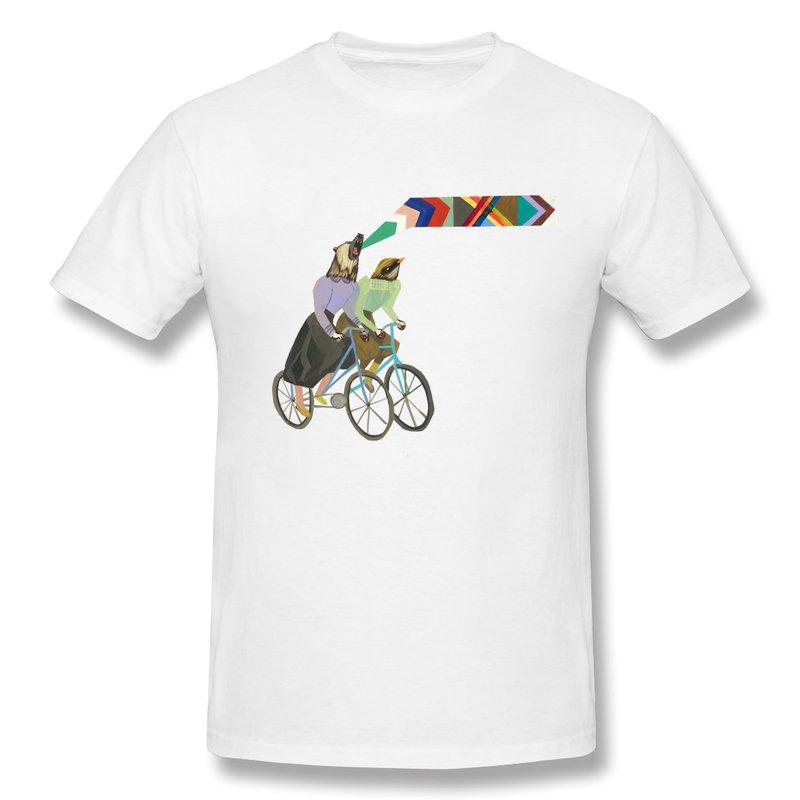 Slim Fit T Shirt Men Bird and Bear Bicycle Tee Shirts Funny Picture Men TShirts(China (Mainland))