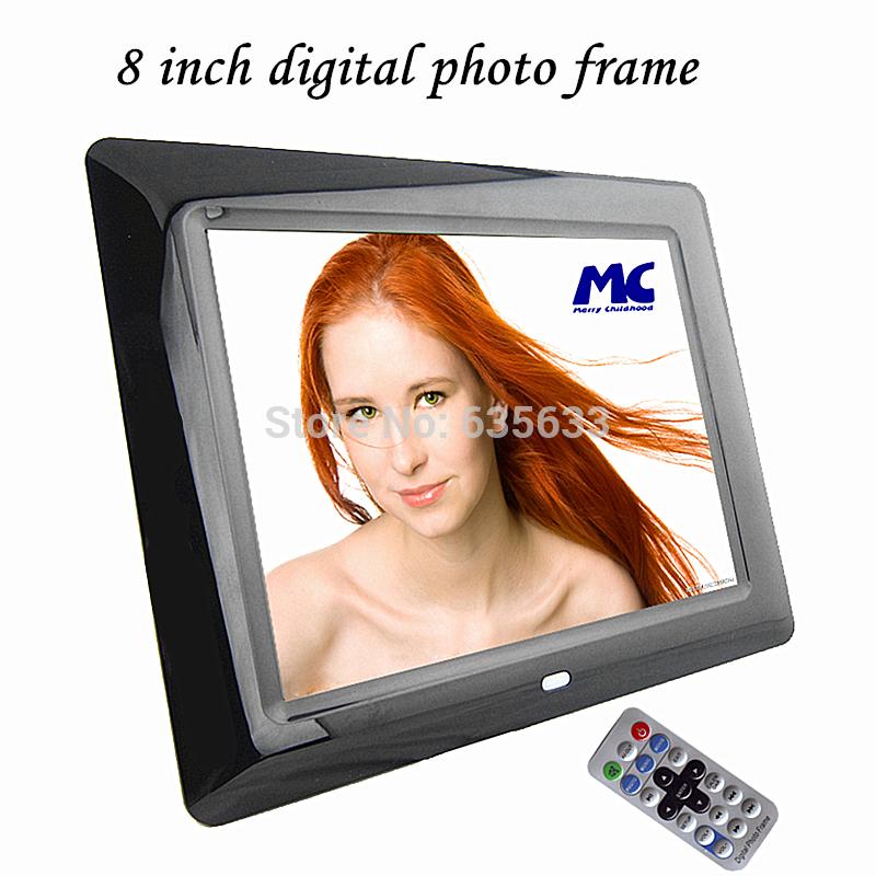 Utral- légerfonction 8 pouces cadre photo numérique complet de fonctions, support mp3& movie jouant avec télécommande, livraison gratuite