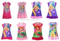 girl cartoon nighties many designs and colors 4pcs/lot girl dress