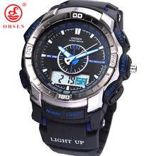 Ohsen LCD Digital analógico Dual Time Alarm fecha día de goma exterior cuarzo reloj de pulsera militar a prueba de agua Men Boy reloj deportivo