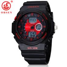 2014 nuevos hombres deportes del muchacho reloj de vestir Casual relojes 2 zona horaria de cuarzo Digital electrónica de LED impermeable rojo militar reloj de pulsera