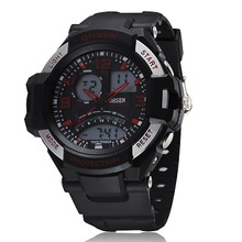 2014 Acrylic New Arrival Watches Ohsen Fashion Style 4 Buttons Multifunction Dual Time Mens Band Sport
