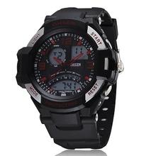 2014 acrílico recién llegado relojes Ohsen moda estilo 4 botones multifunción Dual Time Mens Band deporte buceo Watch relojes de pulsera