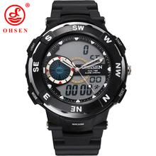 Nueva OHSEN hombres de marca de los muchachos deportivo multifuncional relojes 2 zona horaria de cuarzo reloj Digital del LED impermeable relojes militares