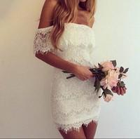 Women White Lace Slash Neck Bodycon Party Dress