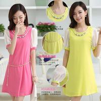 New Korean Women Slim A word sweet lady stitching round neck short sleeve chiffon dress summer