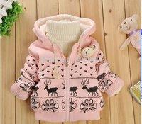 kids jacket Children's cartoon fawn cashmere winter coat sleeve fashion baby coat girl's coat baby jacket 1pcs/lot