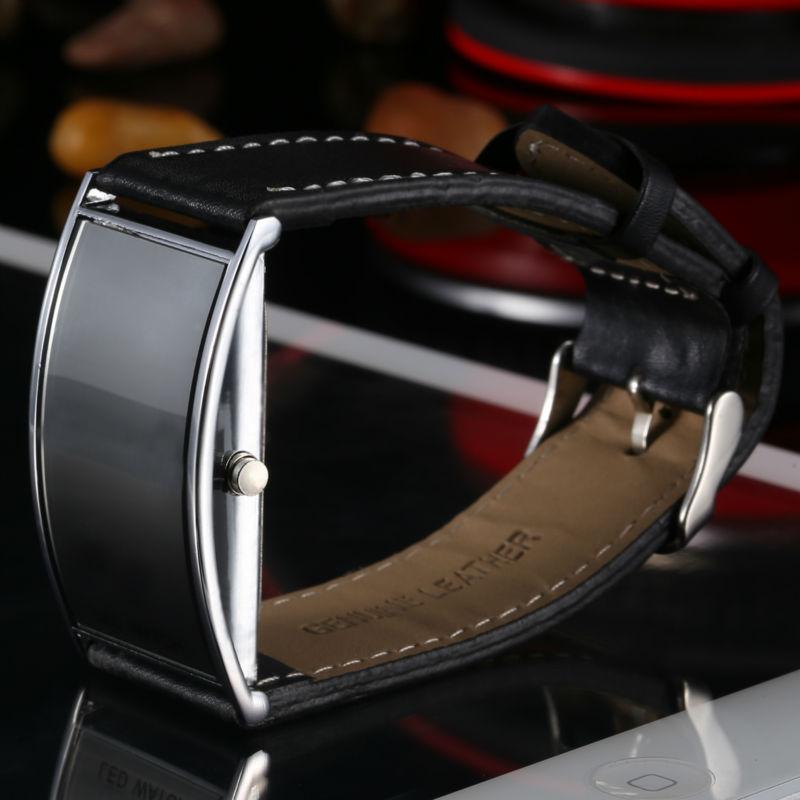 Fashion Luxury Slim Men Women's Electronic Sport Casual Genuine Leather Strap Wristwatches Steel Frame Digital LED Display Watch(China (Mainland))