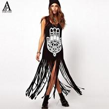 Nuevas mujeres Hippie Stle impreso Tassell dobladillo del vestido fn042(China (Mainland))