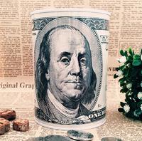 Franklin Dollar Money boxes Piggy bank Tin Round  Metal Coin Box moneybox new 2014 freeshipping