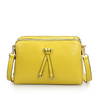 Desigual bags for Women Double Zipper 2014 Western Casual Style Lemon Yellow Color Female Leather Messenger Bags,Q0447