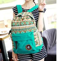 2014 fashon women canvas backpacks Children's School Bag Bohemia striped Backpack  Girls' travel Bag B013