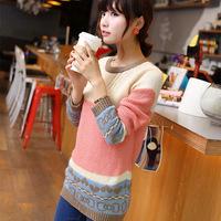 2014 Korean Women Loose Sweater Lady Sweet Sweater Pullover Sweater Bottoming Female Winter Jacket