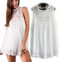 2014 Hot Selling Women Summer Dress Sexy Lace Crochet Casual Dress Women Lace Flower Print Dress White Chiffon Dresses Vestidos