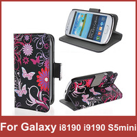 New Flip Stand Book Butterfly Flower Cover Case For Samsung Galaxy S3 mini i8190 S4 mini i9190 S5 mini Cover Wallet Phone Bag
