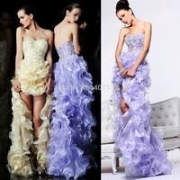 New Fashion High Quality Women Girl Luxurious Sweetheart Ruffles Organza Applique Short Frong Long Back Prom Dress