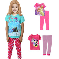 KNB Summer Frozen Girls Pajamas Sets Minnie Mouse Girl Sleepwear Homewear Suit 2PCS Cartoon Cotton Children Clothing Sets APS042