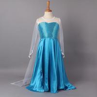 2014 fashion  girls frozen elsa & anna princess dresses children party  dressgauze sleeveless one piece kids  summer clothing