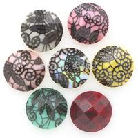Free shipping fashion 200pcs 12mm Craft Round resin stones, flatback black lace resin rhinestone beads for Diy decoration