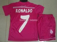 2014/15 Real Madrid Away pink #7 RONALDO kids soccer jersey,2015 Real Madrid PINK children youth soccer jersey Kids kit