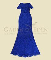 Free shipping 2014  Luxury Brand Fashion Blue/green lace short-sleeve slim hip  formal Floor length length Maxi Long dress