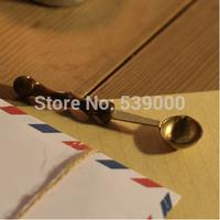 Free shipping 1pcs Wax stamp sealing wax spoon vintage wood handle anti hot wax spoon