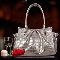 New 2014 Fashion Desigual Brand original Pearlescent skin leather  Crocodile Handbag Shoulder Bags Women Messenger Bags Totes