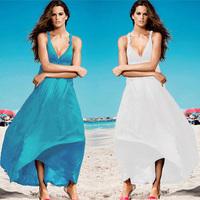 1063 free shipping 2014 summer women new fashion 7 colors sexy v neck bandage slim waist long maxi dress ladies beach dresses