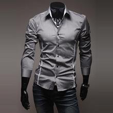 Dos homens venda promoção camisa ocasional 2014 primavera vestido de alta qualidade homens Slim Fit roupas elegantes camisas dos homens 3 cores dropshipping(China (Mainland))