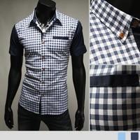 Free shipping 2014 new men's shirts, collar male slim, long seelves, business dress shirts plaid casual shirt 8001