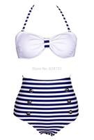 2014 Fashion Cutest Retro Swimsuit Swimwear Vintage Pin Push Up High Waist Bikini Set