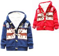 winter new children cardigan boy kids jacket coat blue baby girls warm sweater outerwear deer pattern red brand kids wear 2-4T