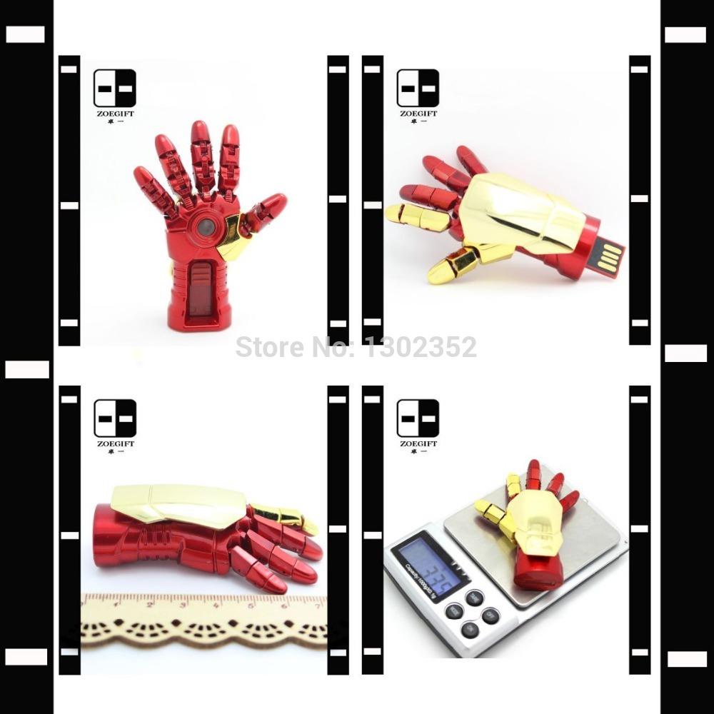 100% Real Capacity LED Light Iron Man Gauntlet Hand USB Key Disk 64GB,Original Memory Pendrives,Promotion Gifts Custom Logo(China (Mainland))